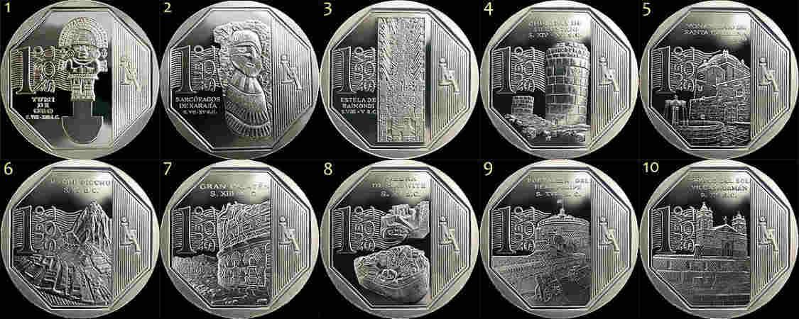 monedas de un nuevo sol peruano